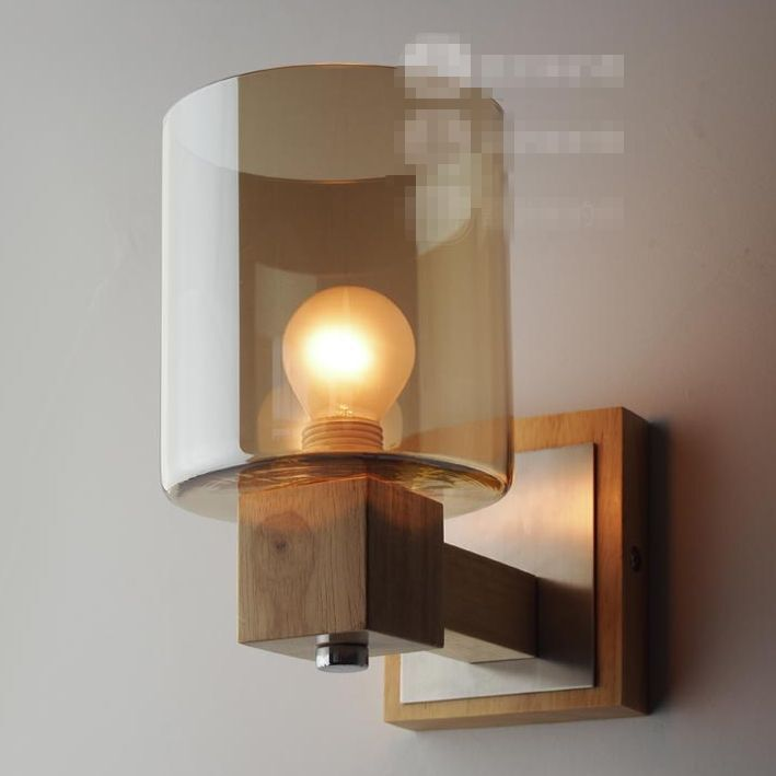 design solid wood wall lamp glass cover light diy lighting