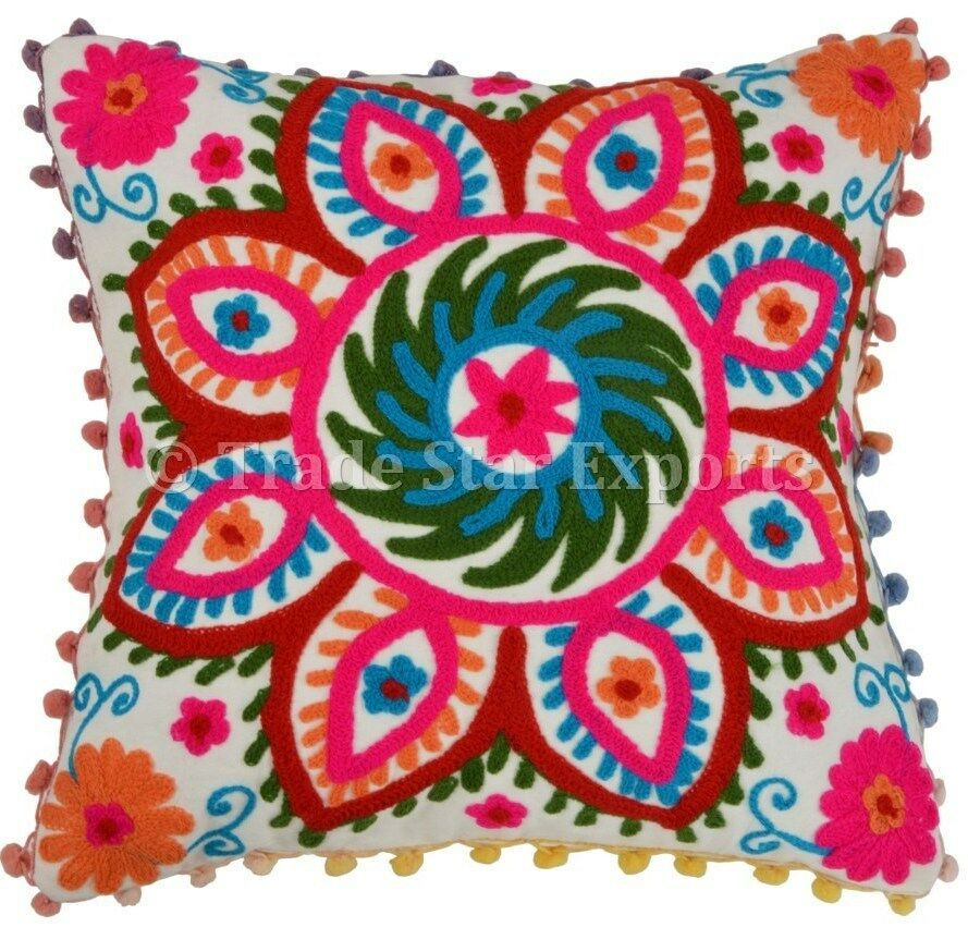 Lace Throw Pillows Covers : Suzani Cushion Cover Cotton Pillow Cases 16x16 Pom Pom Lace Throw Pillows Shams eBay