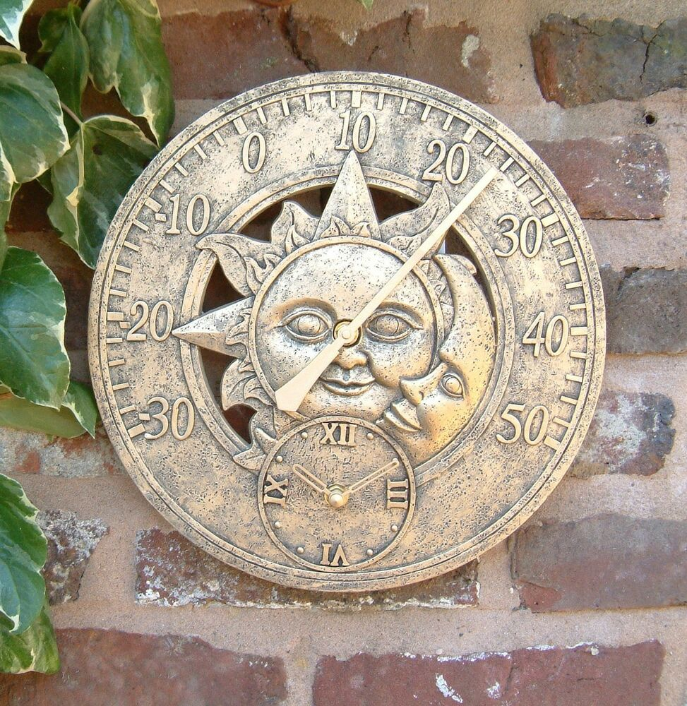 Outdoor Indoor Garden Wall Clock Thermometer 12 Inch Sun