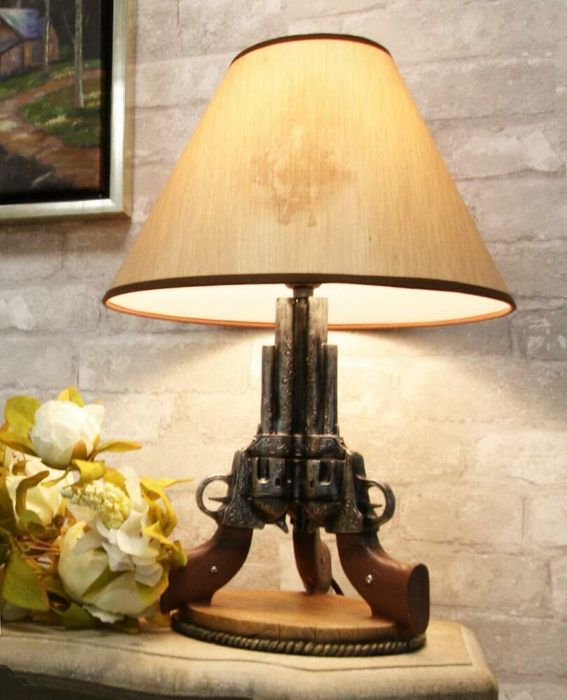 Six Shooter Triple Gun Figural Table Lamp In Gifts Cowboys