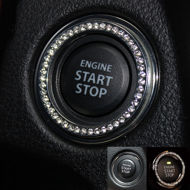 Silver Bling Car Interior Stop Start Ignition Button Keyhole Crystal Rhinestone Ebay