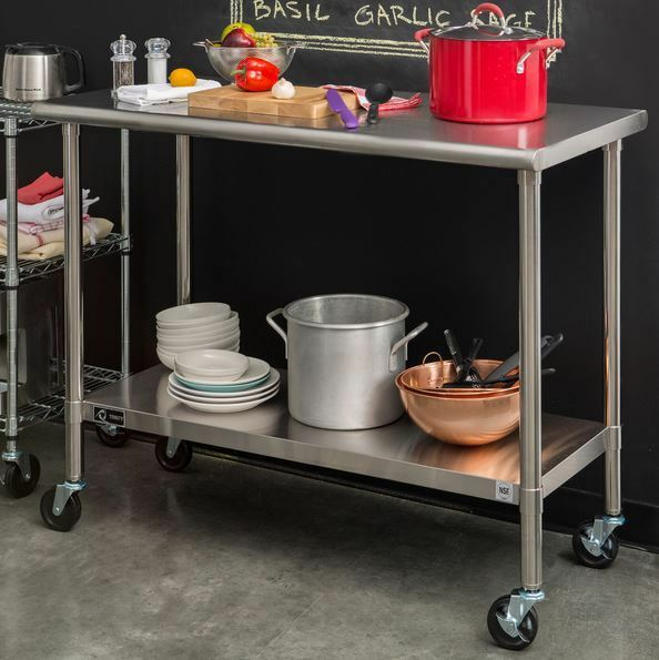 Rolling Work Bench Table Stainless Steel Cart Prep Kitchen