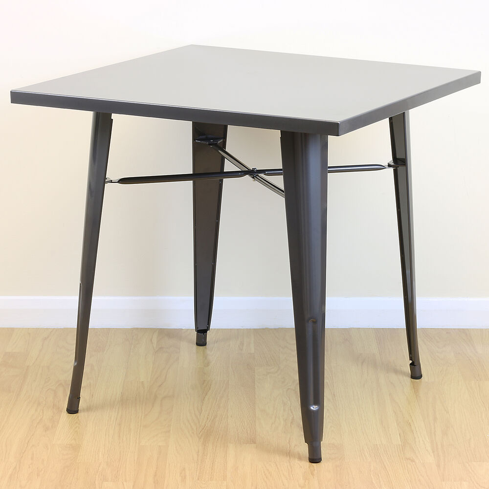square gunmetal kitchen dining cafe metal table 2 4 seater