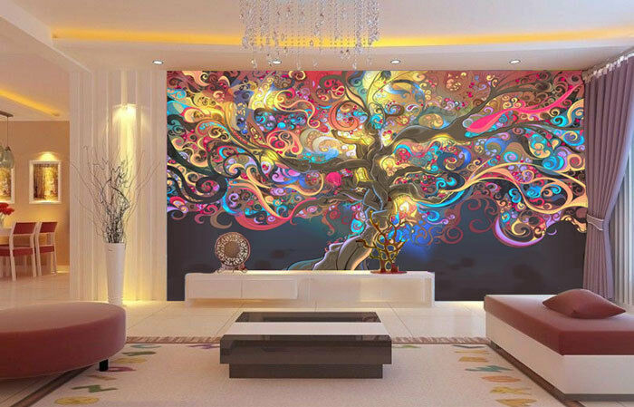 Tree of life colour abstract full wall mural photo for Digital print wallpaper mural