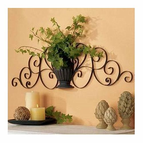 Exotic Metal Wall Art Iron Sculpture Scroll Vase Home