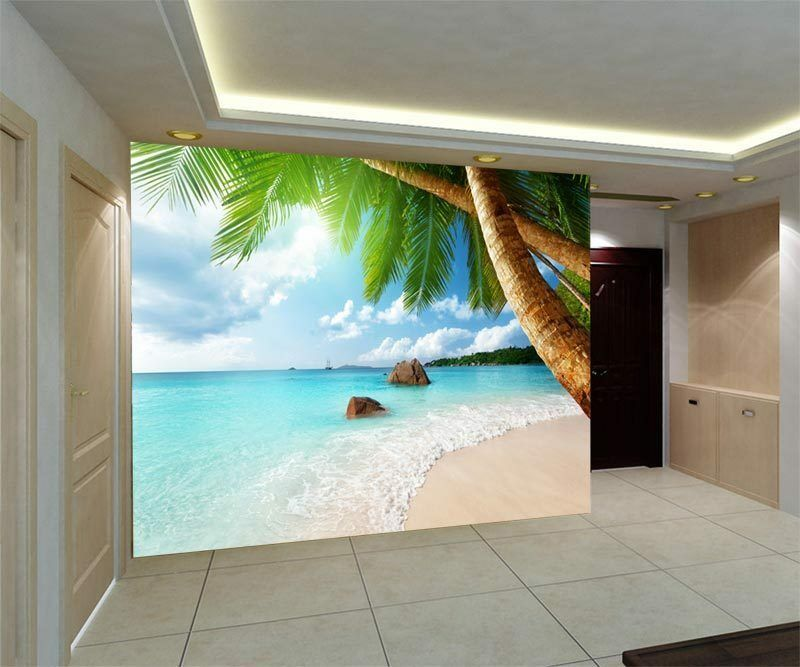 Palm tree tropical beach sea full wall mural photo for Home wallpaper ebay