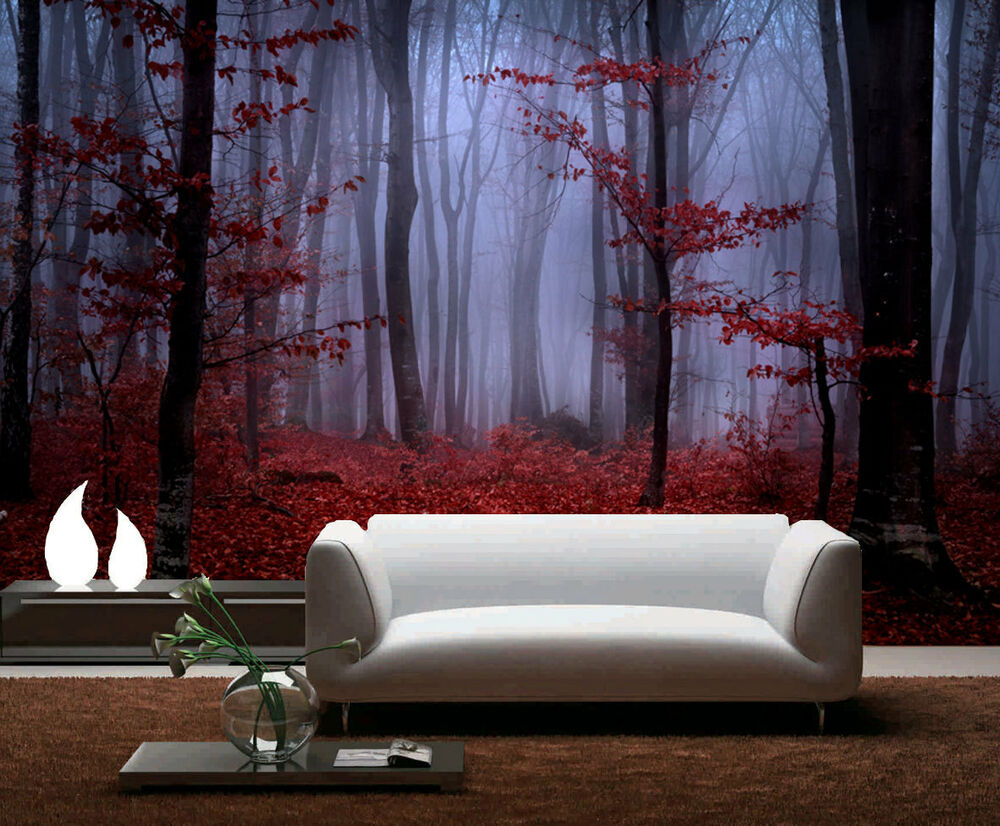 Mystical forest foggy foliage full wall mural photo for Home wallpaper ebay