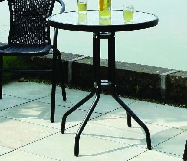 Black Round Metal Table Glass Topped Garden Outdoor Bistro