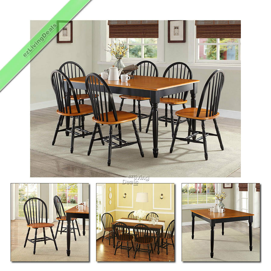 7 Pc Dining Room Sets Table Chairs Wood Farmhouse Windsor Country Set Black