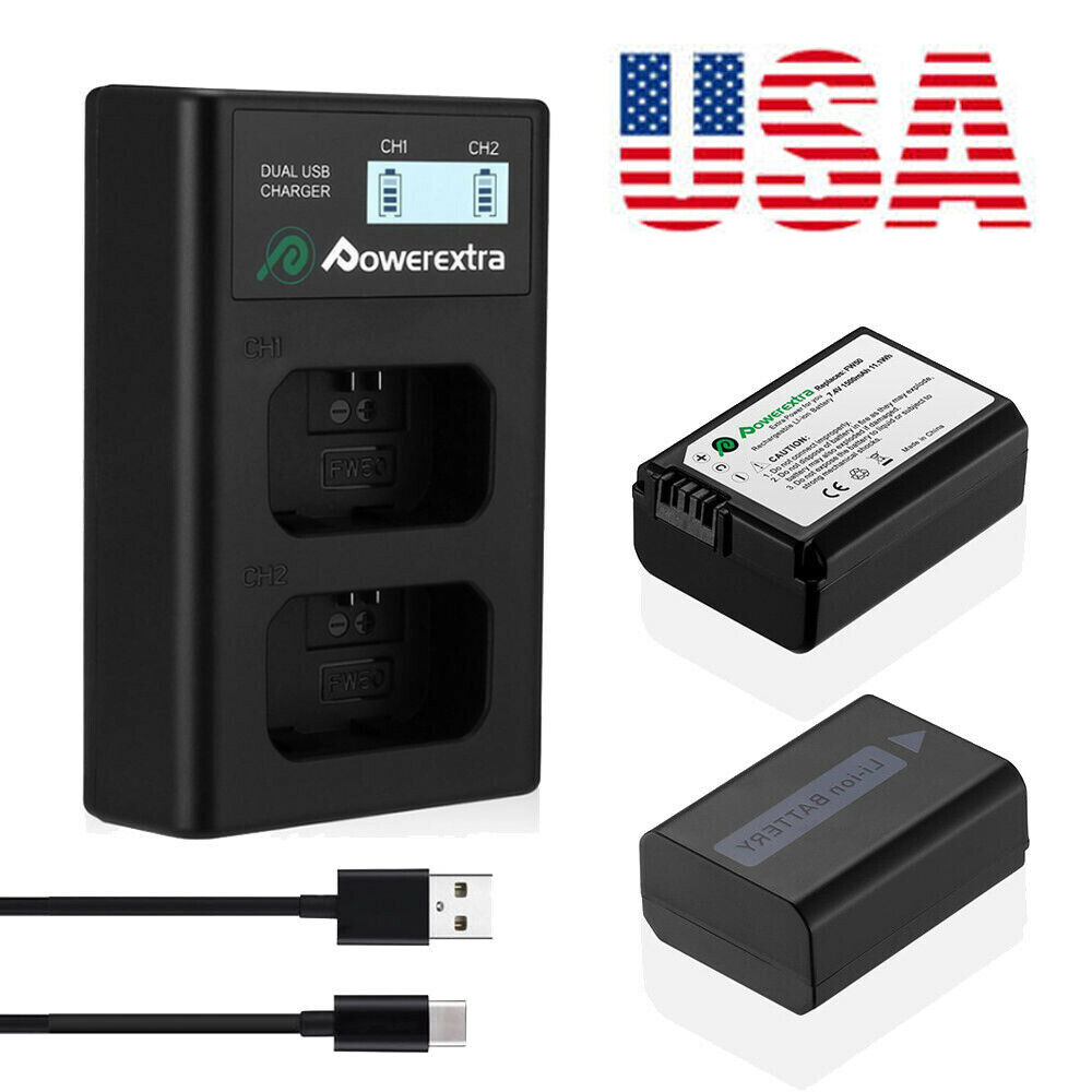 2x Np Fh70 Battery Charger For Sony Handycam Hdr Hc9 Dcr