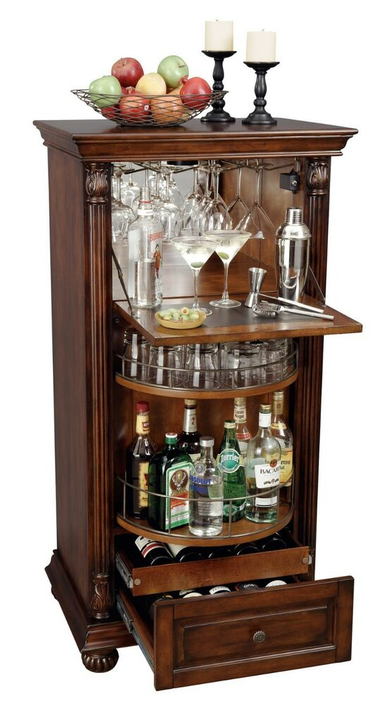 Howard miller 695 078 695078 cognac wine amp bar cabinet hampton