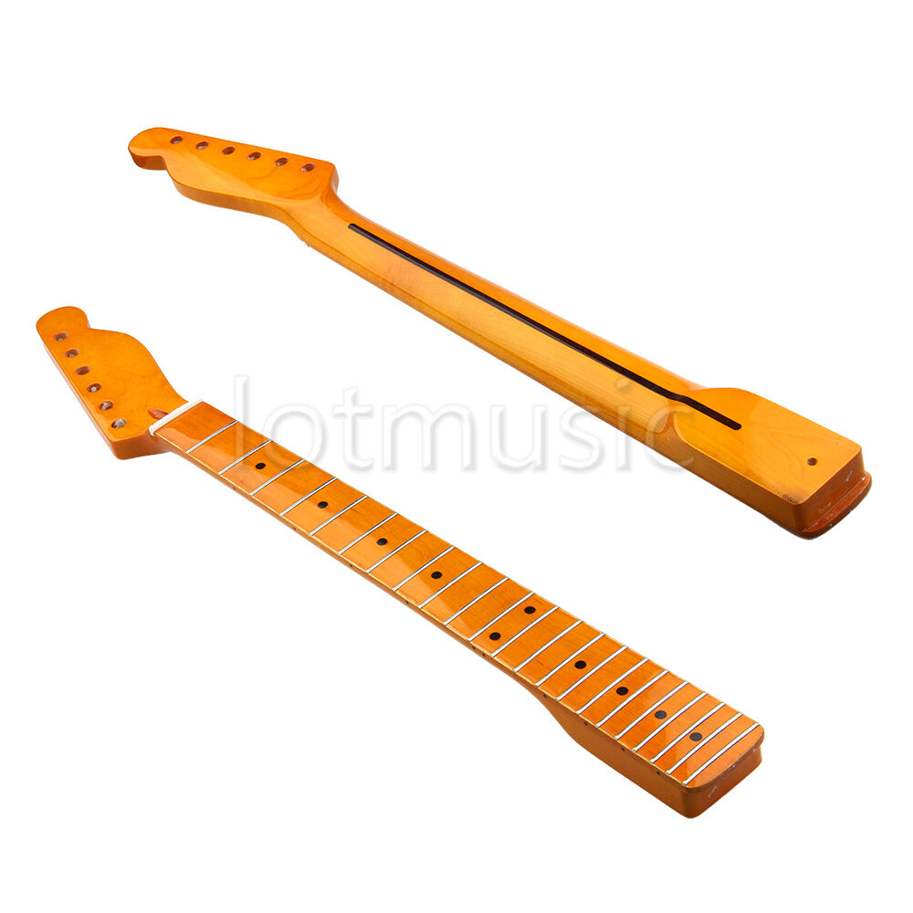 electric guitar neck for tl parts replacement maple 22 fret classic yellow ebay. Black Bedroom Furniture Sets. Home Design Ideas