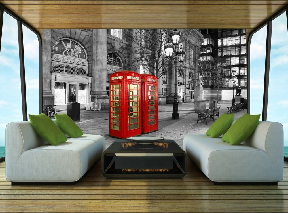 Red telephone booth london wall mural photo wallpaper for Home wallpaper ebay