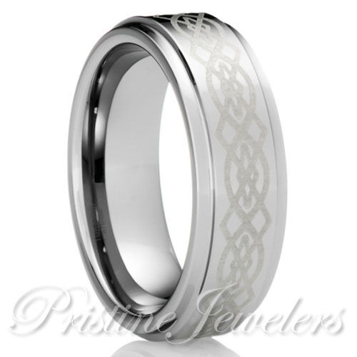 new tungsten silver celtic knots mens jewelry wedding band