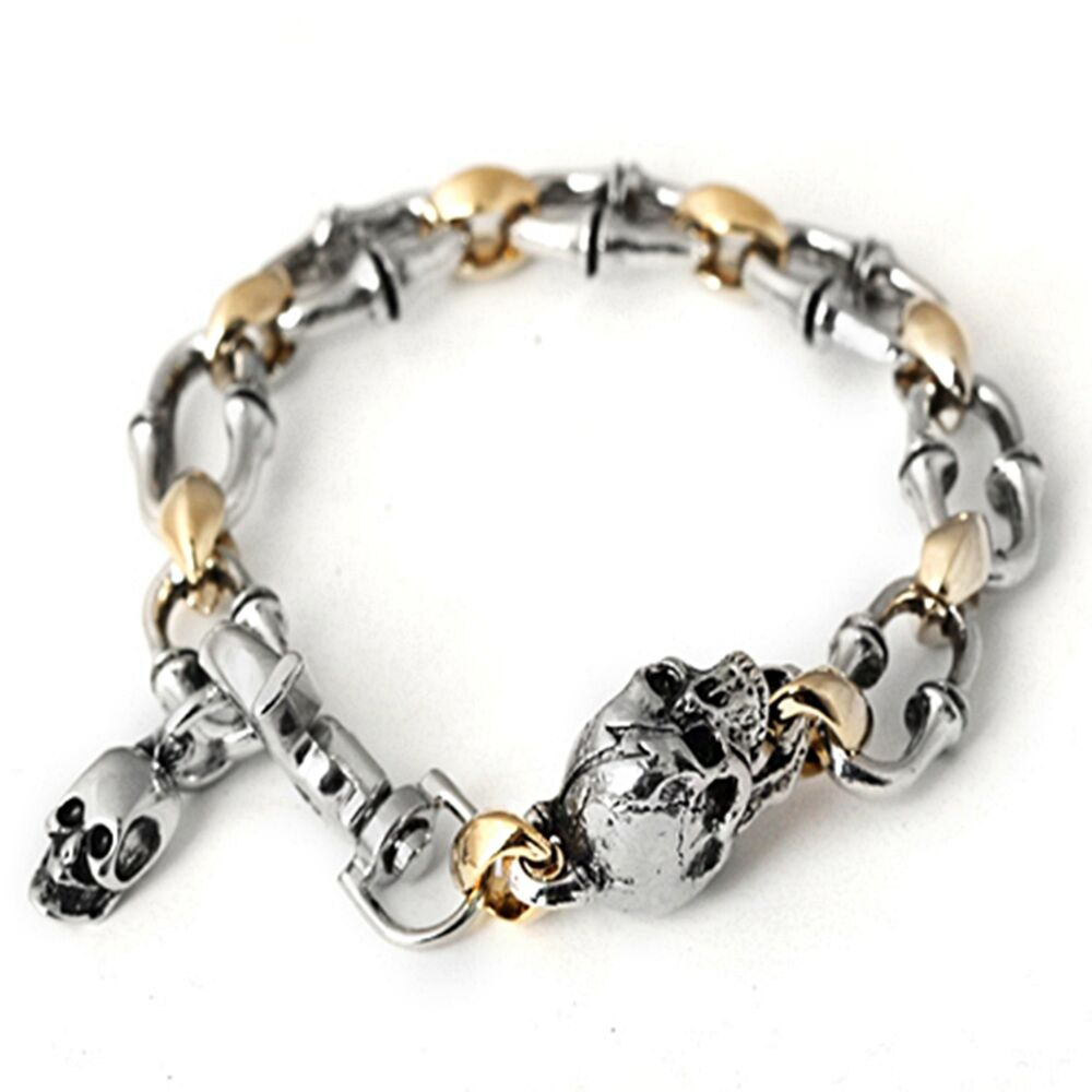 skull bracelet guntwo korean mens fashion bracelets biker hip hop 7295