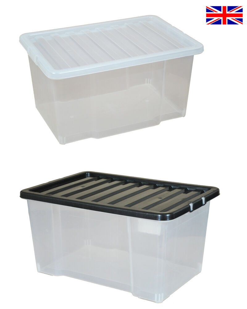 multipacks of 50 litre large plastic storage boxes with. Black Bedroom Furniture Sets. Home Design Ideas