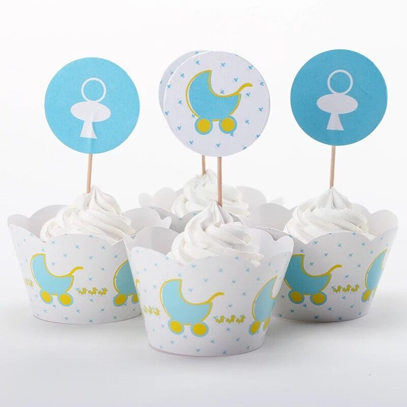 12x baby shower cupcake toppers wrappers party supplies for Baby shower cupcake decoration