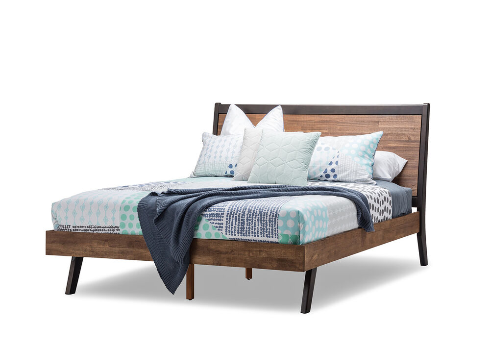 Scandinavian Double Size Panel Bed Frame Solid Timber Wooden Acacia ...