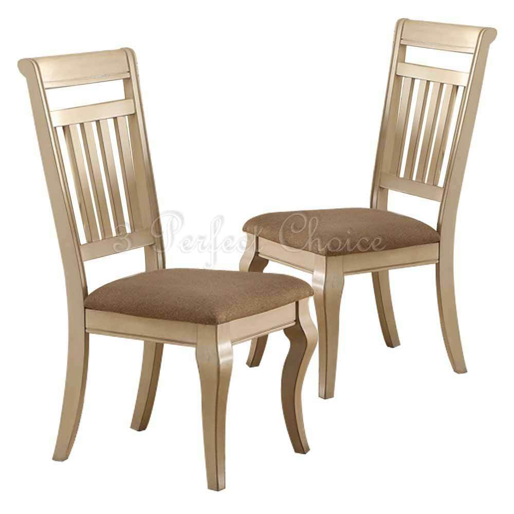 Set of 2 formal dining side chairs medium wood trimmed for Formal dining chairs