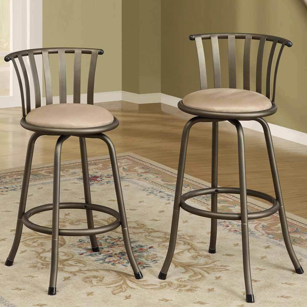 Bar Stool Chairs: Set Of 2 Bar Counter Height Swivel Barstools Adjustable