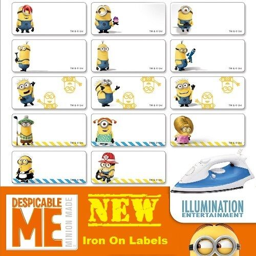 36 minion iron on personalised name clothing labels med for Iron on shirt labels