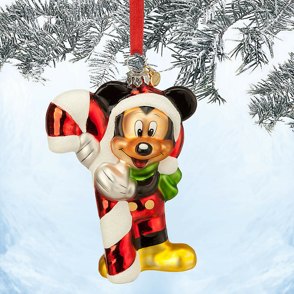 2014 santa mickey mouse candy cane sketch glass christmas ornament disney store ebay - Disney store mickey mouse ...