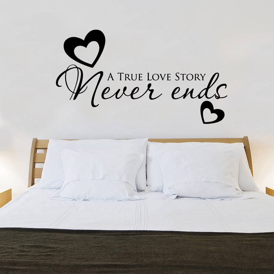 True love never ends heart quote wall stickers art bedroom for Bedroom quote wall stickers