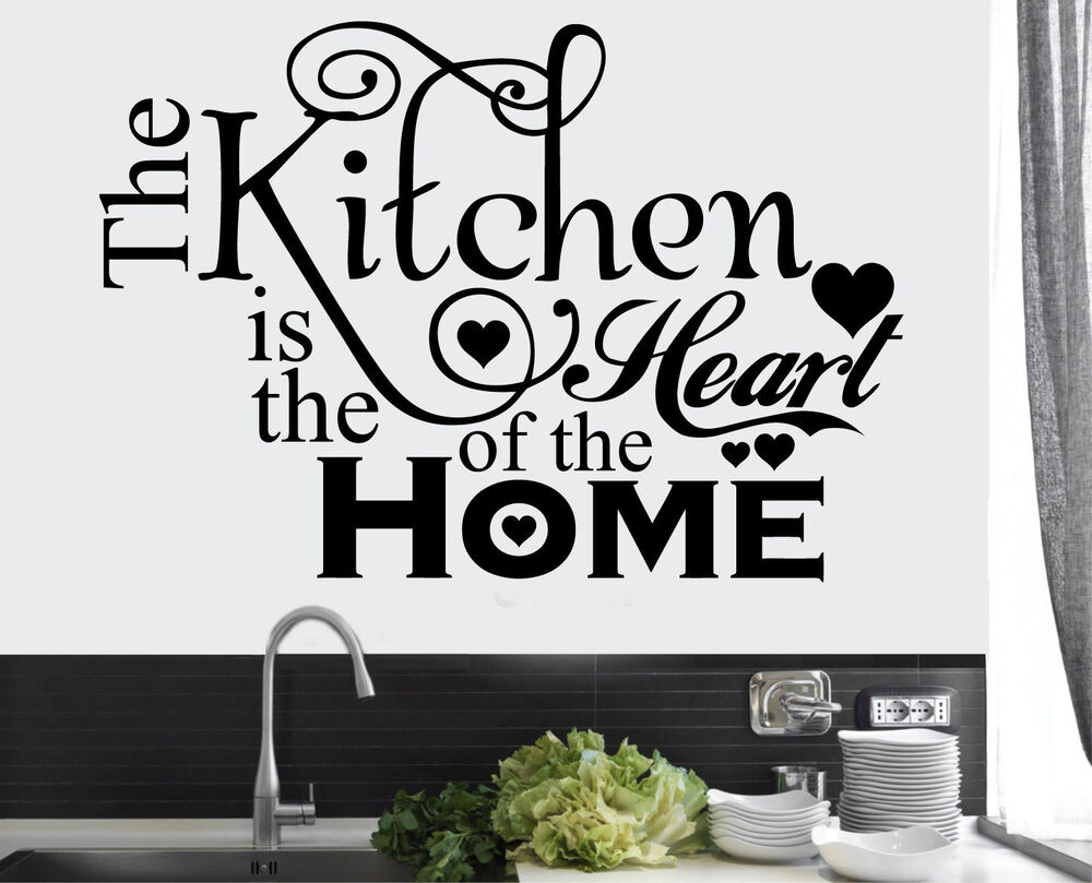 NEW Kitchen Heart Home Quote Wall Stickers Art Dining Room ...