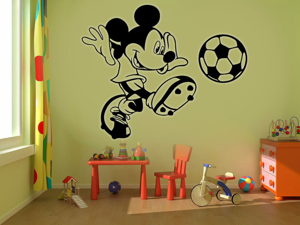 Mickey mouse football kids disney wall stickers art room for Disney wall stencils for painting kids rooms