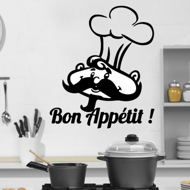 Kitchen cook bonappetit quote wall stickers art dining for Dining room wall art stickers