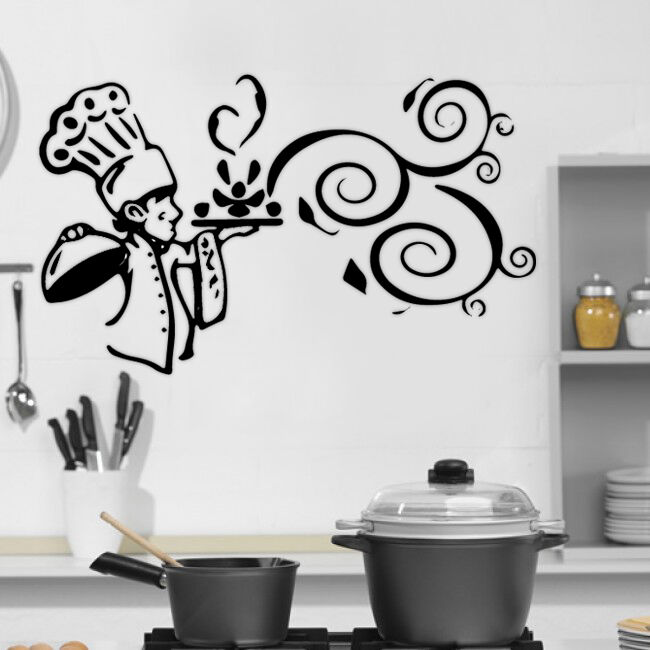 Kitchen cook food quote wall stickers art dining room for Kitchen and dining wall art