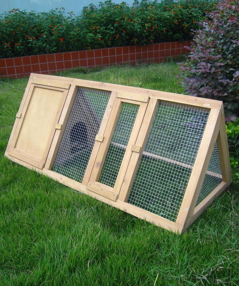 Wooden Outdoor Triangle Rabbit Hutch And Run Guinea Pig