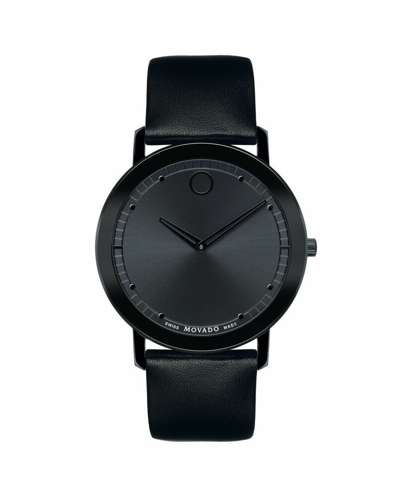 new movado sapphire black leather s
