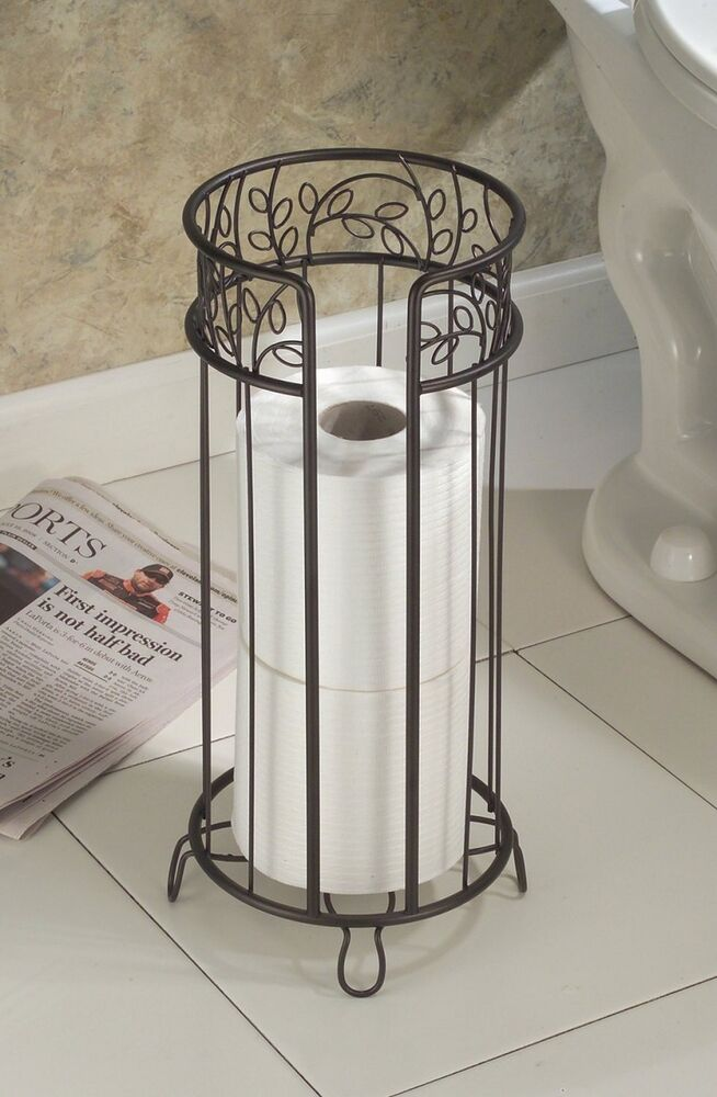Metal toilet tissue paper roll reserve holder standing for Loo roll storage