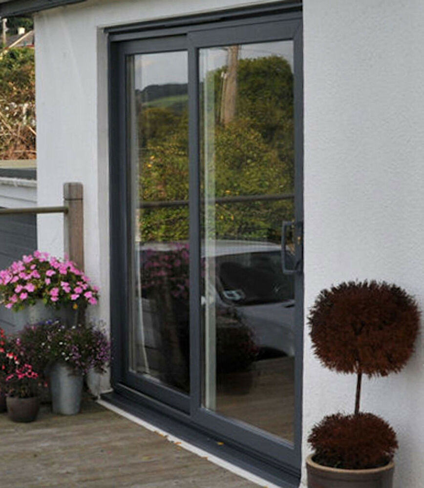 Grey upvc sliding patio door 1800mm 1899mm wide ebay for Wide sliding patio doors