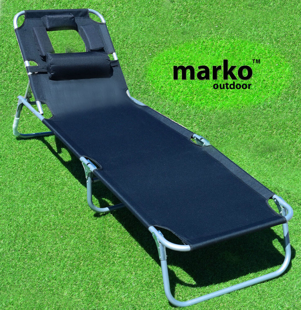 Monaco Sun Lounger Black Folding Bed Tanning Headrest Tan