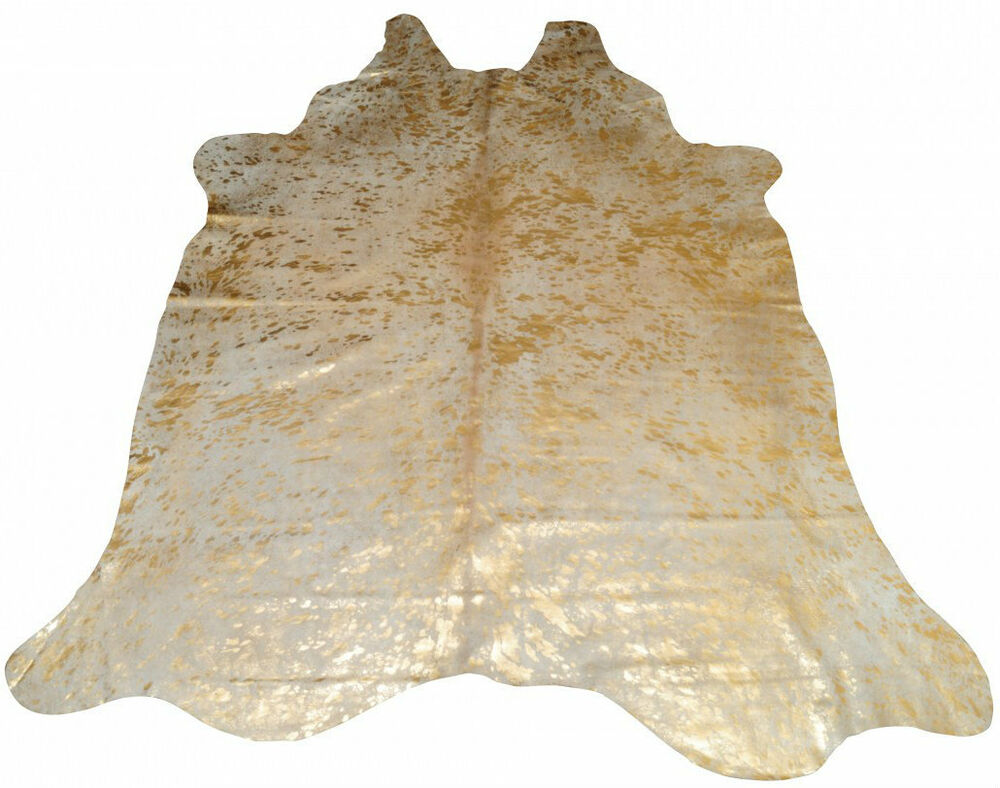 New Natural Scotland Cowhide Soft Rug Gold Genuine Leather