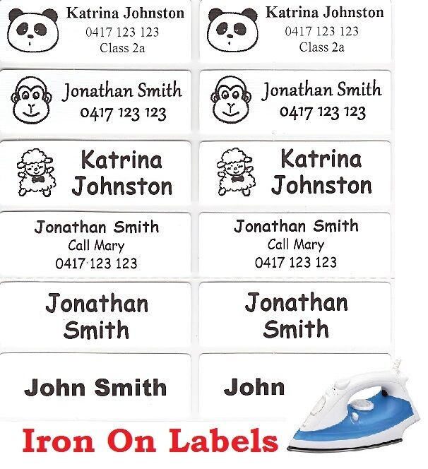 16 white iron on personalised name clothing labels large for Iron on shirt labels