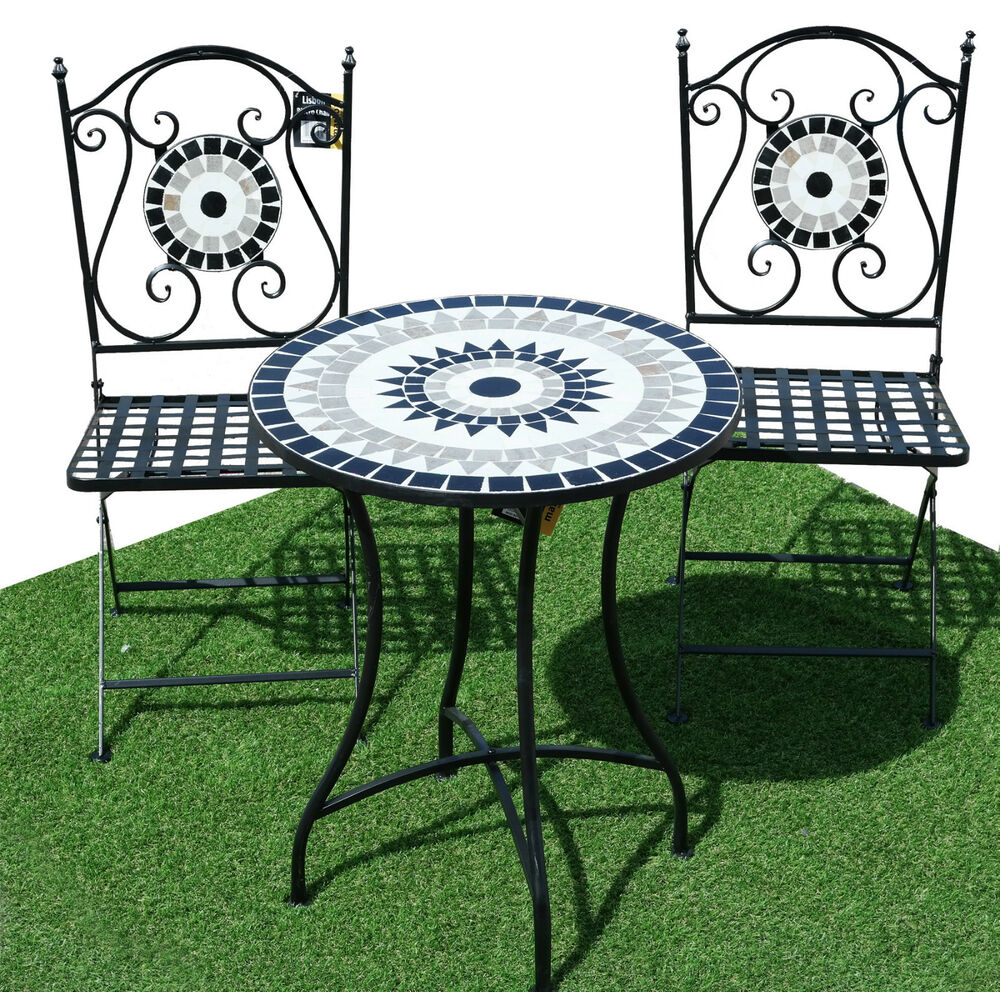 3pc lisbon costa mosaic bistro set outdoor garden for Outdoor garden set