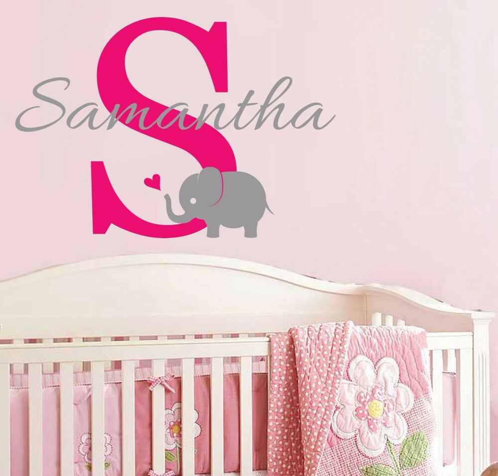 Elephant wall decal ebay initial monogram and name w cute elephant vinyl wall decal nursery baby girl amipublicfo Choice Image
