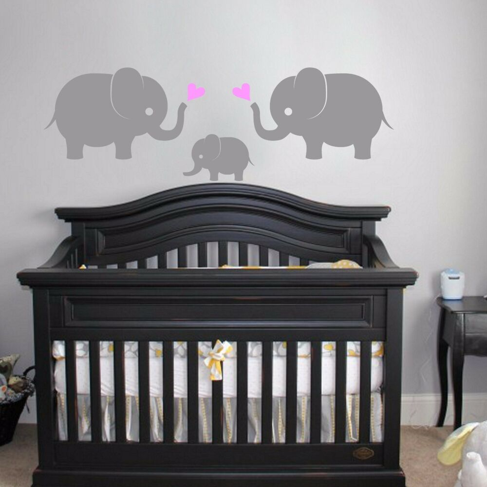 Elephant family wall vinyl decal sticker 3 elephants w for Elephant mural nursery