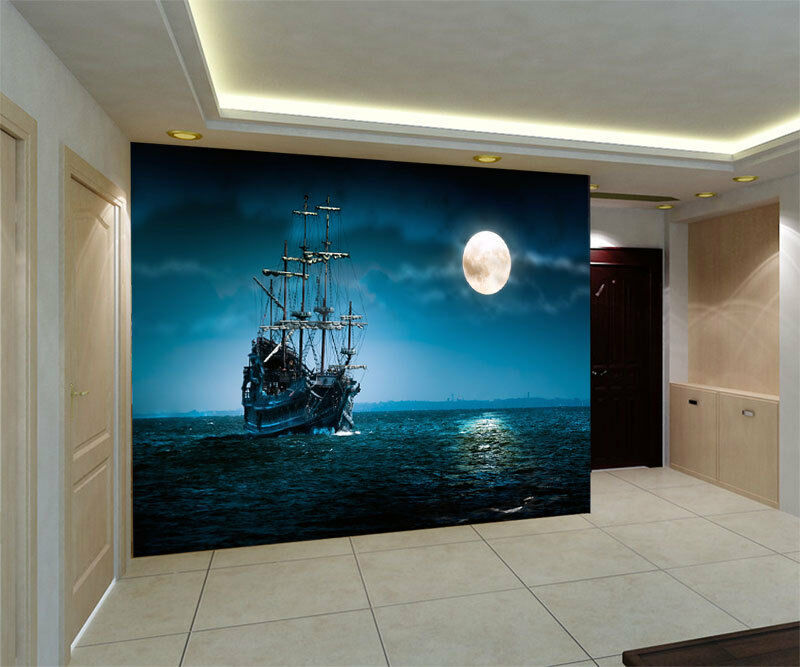Flying dutchman pirate ship full wall mural photo for Home wallpaper ebay