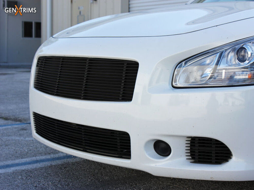 Genxtrims Gloss Black Billet Grille Grill 4pc Set For 2009