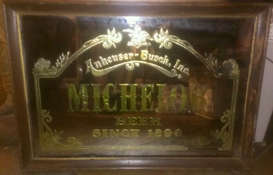Vintage 1970s Anheuser Busch Michelob Bar Mirror Framed