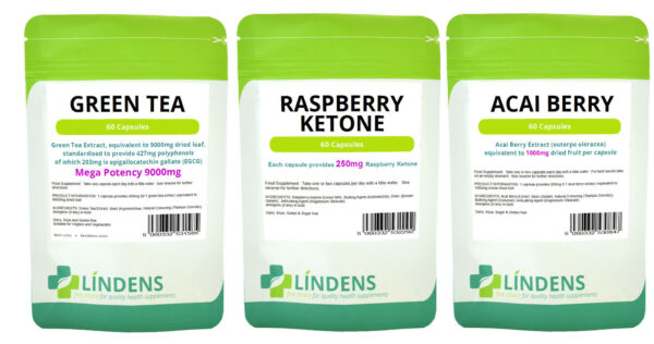 60 Raspberry Ketones 60 Acai Berry 60 Green Tea 9000mg Slimming Diet Pills Weigh