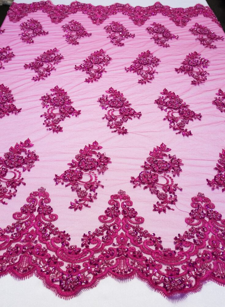 fuchsia floral mesh w embroidery beaded lace fabric