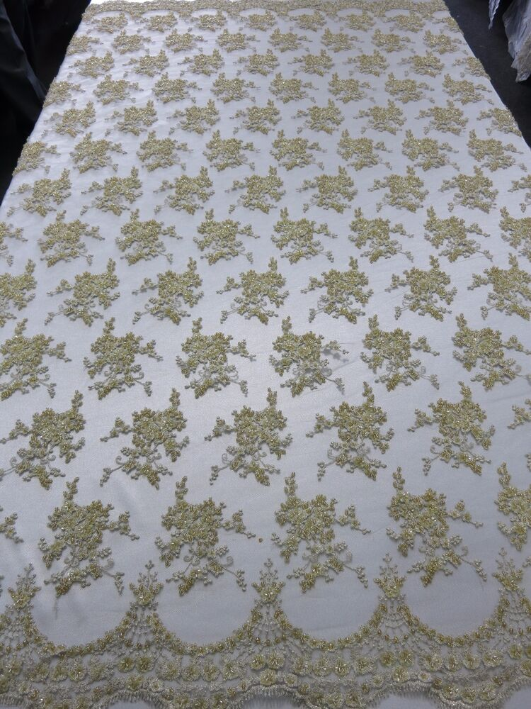Gold Bridal Floral Mesh W Embroidery Beaded Lace Fabric