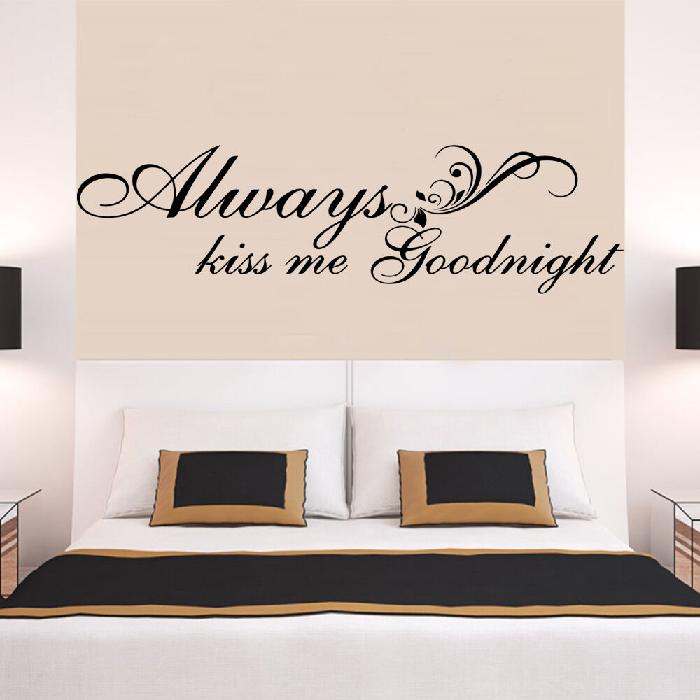 ALWAYS KISS ME GOODNIGHT LOVE Quote Wall Stickers Bedroom ...