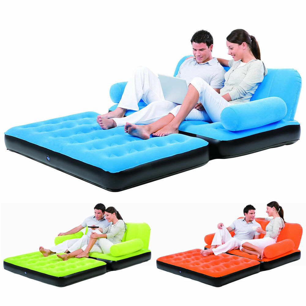 Double Sofa Air Bed Inflatable Blow Up Couch Furniture
