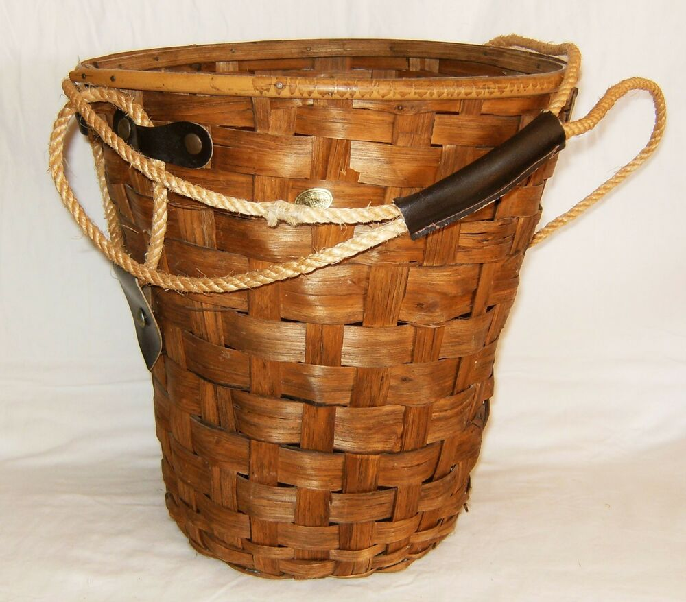 vintage italian demijohn wicker basket rope leather handle 1960s nice ebay. Black Bedroom Furniture Sets. Home Design Ideas